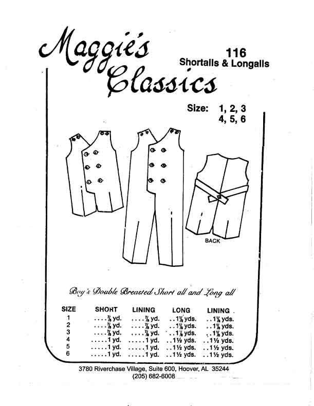 Boy's Double Breasted Shortalls & Longalls