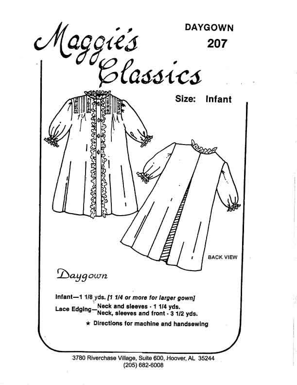 Day Gown, Button Front, Pintucks