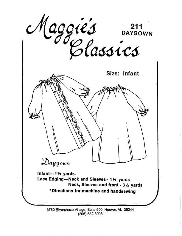 Day Gown, Button Front, 1 Ruffle
