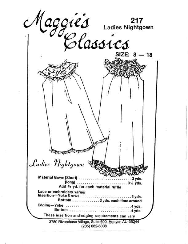 Ladies Round Yoke Nightgown