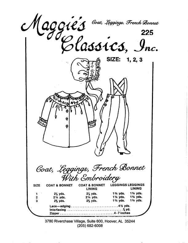 Girl's Coat, Bonnet and Leggings