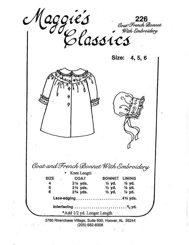 Girl's Coat and Bonnet, Round Yoke