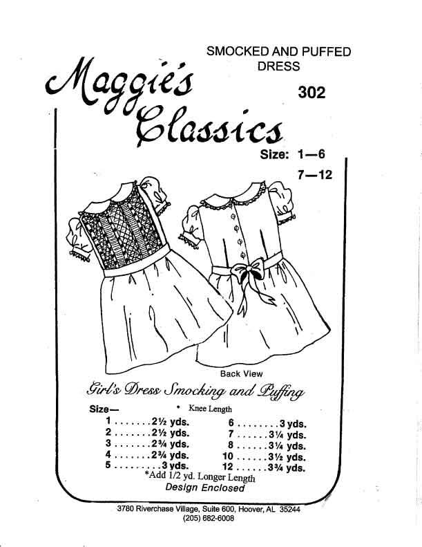 Girl's Dress, Smocked, Puffed to Waist