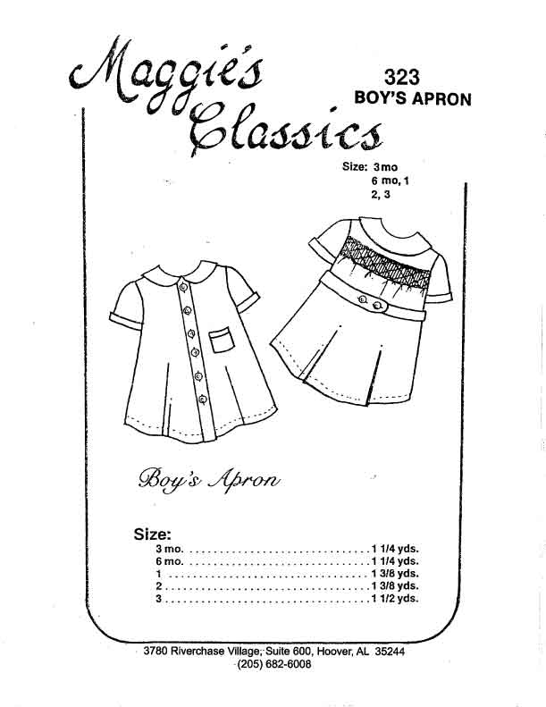 Boy's Apron, Smocked Back