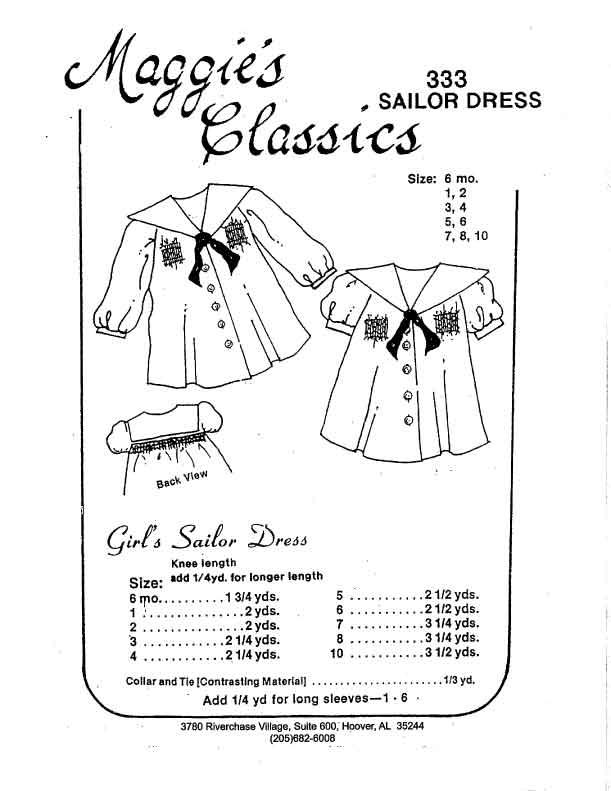 Girl's Sailor Dress w/ Smocking