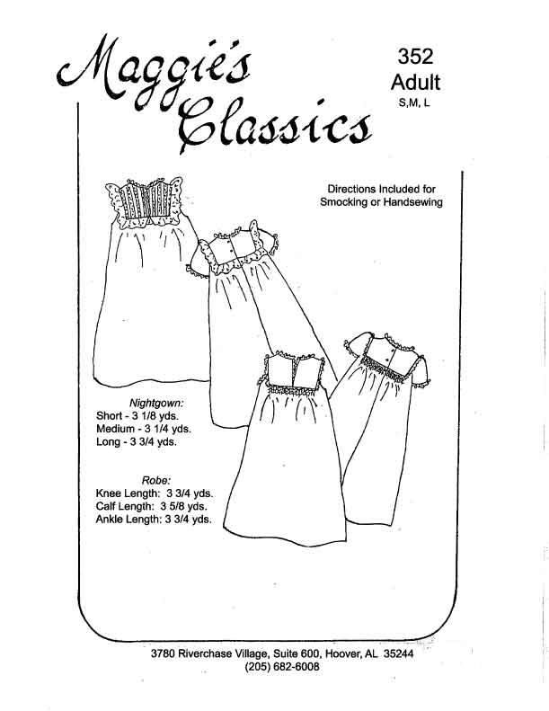 Ladies Square Yoke Gown and Robe