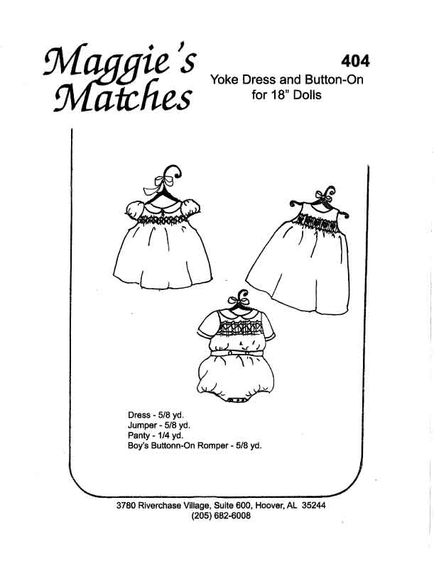 Maggie's Matches Drop Yoke Dress/Romper Cabbage Patch